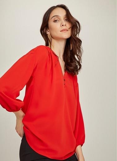 NGSTYLE Balon Kollu Bluz Kırmızı